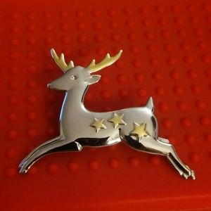 Silver and Gold Tone Reindeer Brooch